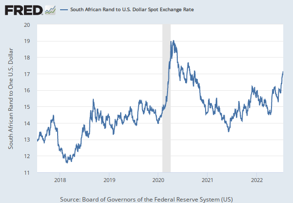 South Africa U S Foreign Exchange Rate